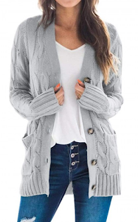 5 Chic and Classy Clothes for Fall 2020 - Modern Light Gray Widened Hem Hip Length Knit Cardigan Newest Fashion