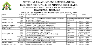 NECO GCE (External) Timetable [1st Feb. - 3rd March 2021]