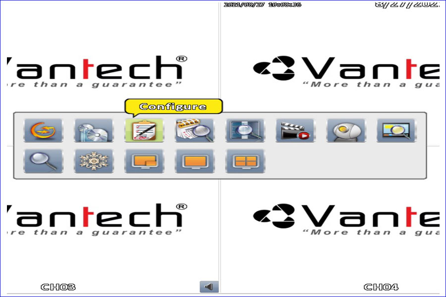 configure đầu ghi hình Vantech