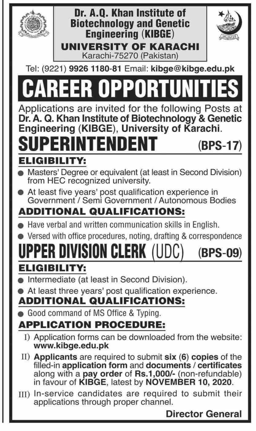 Dr AQ Khan Institute of Biotechnology and Genetic Engineering University of Karachi Jobs 2020 for Clerk