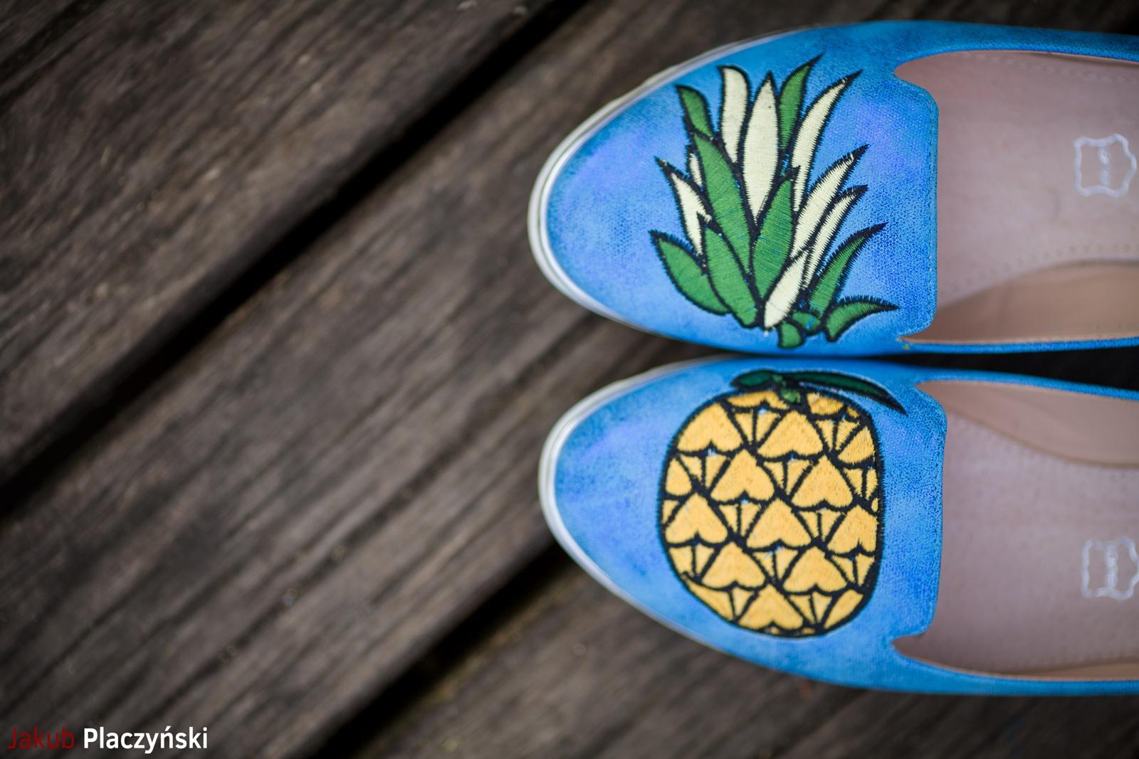 4 żółta sukienka na lato bonprix niebieskie espadryle z ananasem renee shoes reneegirls reneeshoes melodylaniella modnapolka lookbook ootd moda na lato biżuteria piotrowski swarovski