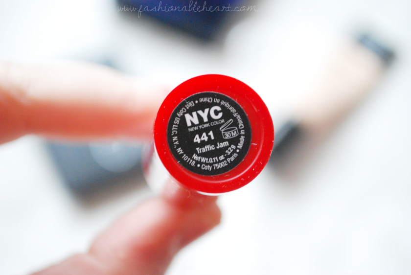 bbloggers, bbloggersca, red lipstick, nyc color, new york color, traffic jam, swatches, drugstore, cheap, expert last lipstick