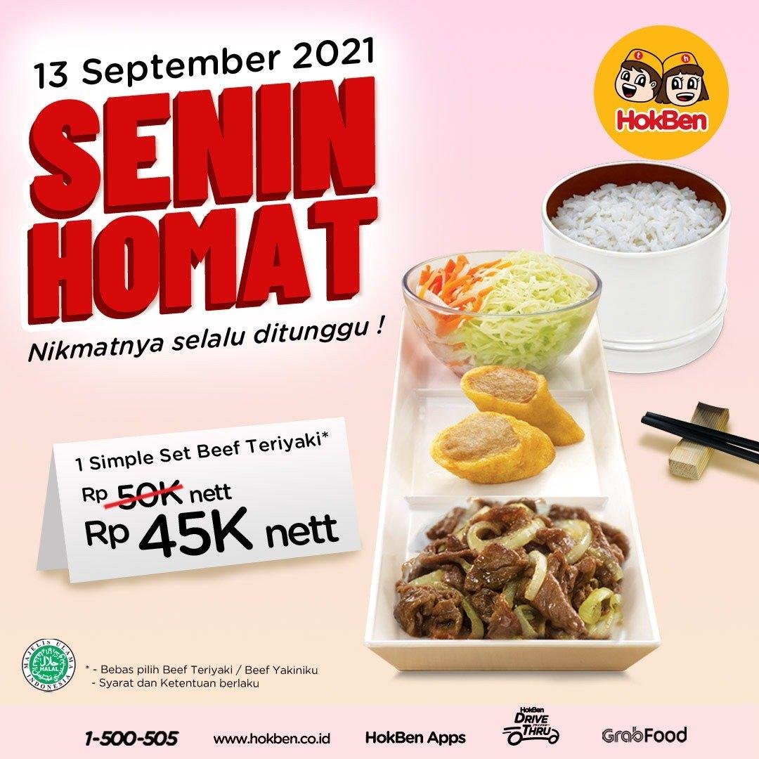 Promo HOKBEN Senin Homat Simple Set Beef Teriyaki Rp45.000 net Periode 13 September 2021