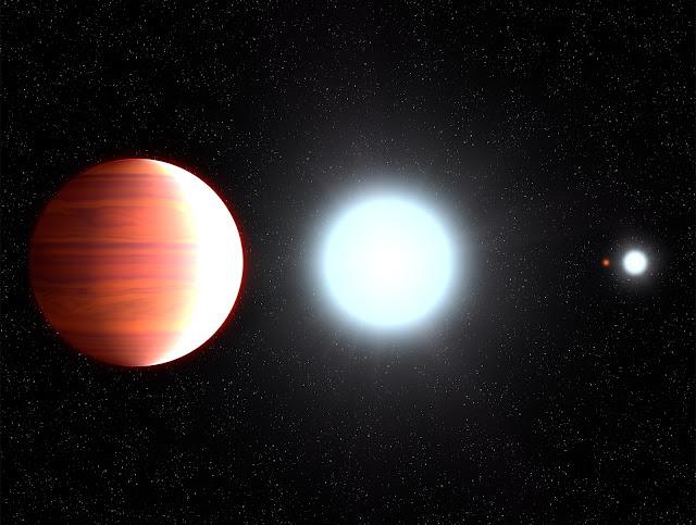 Từ trái qua: Ngoại hành tinh Kepler-13Ab với quỹ đạo rất gần ngôi sao chủ Kepler-13A của nó, bên cạnh đó là hệ sao đôi: sao lùn cam Kepler-13C và ngôi sao Kepler-13B. Đồ họa: NASA, ESA, G. Bacon (STScI).