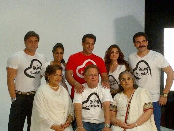 Khan Family Back row: Sohail Khan, Arpita Khan, Salman Khan, Alvira Khan, Arbaaz Khan Front row: Helen, Saleem Khan, Saleema