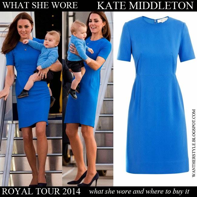 918fc999e2b Kate Middleton in bright blue short sleeve dress Stella McCartney Want Her  Style Royal Tour 2014
