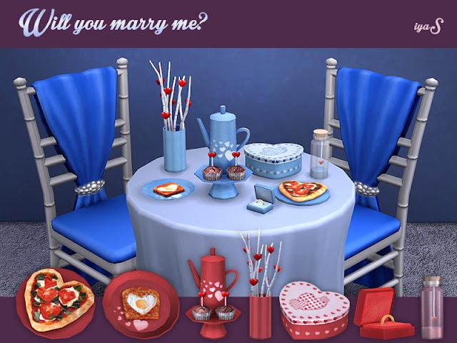 Will you marry me? Ты выйдешь за меня? для The Sims 4 Идеальный набор романтических вещей, если вы собираетесь сделать предложение о браке. В набор входят 7 декоративных предметов. Имеет два цветовых варианта: красный для нее и синий для него. Автор: soloriya