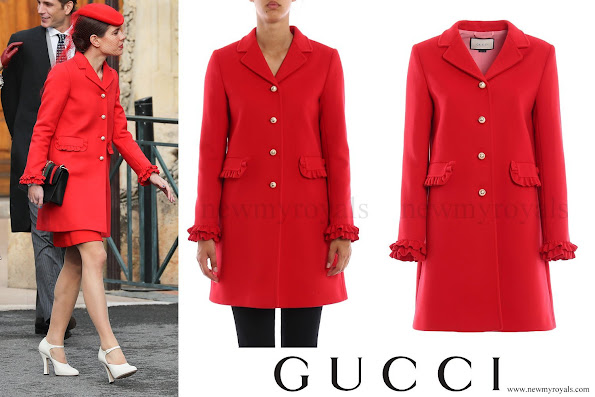 Charlotte Casiraghi wore a Gucci red wool coat