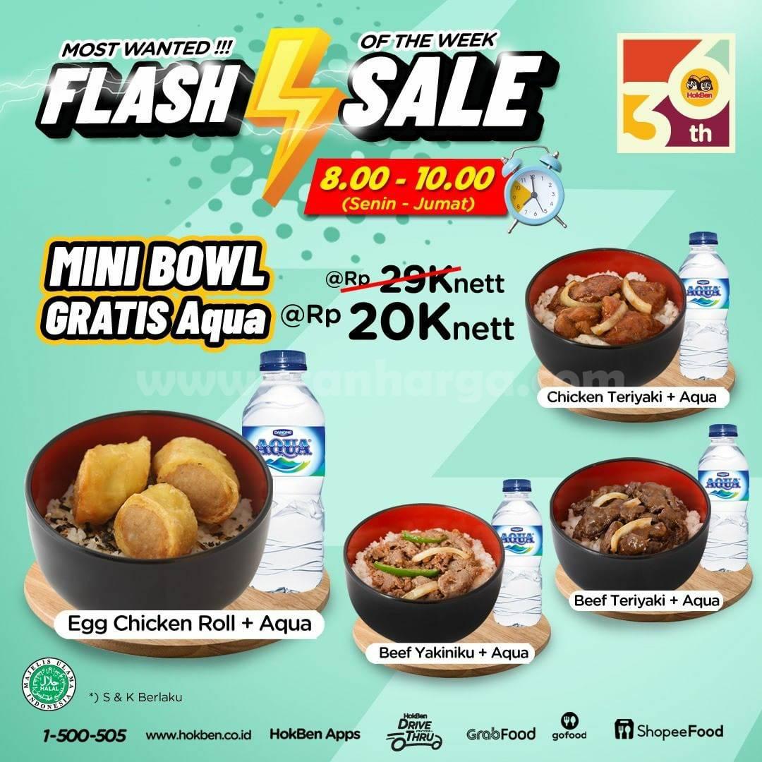 HOKBEN Promo Flash Sale - Mini Bowl Gratis Aqua & Menu Ekonomis 15K nett