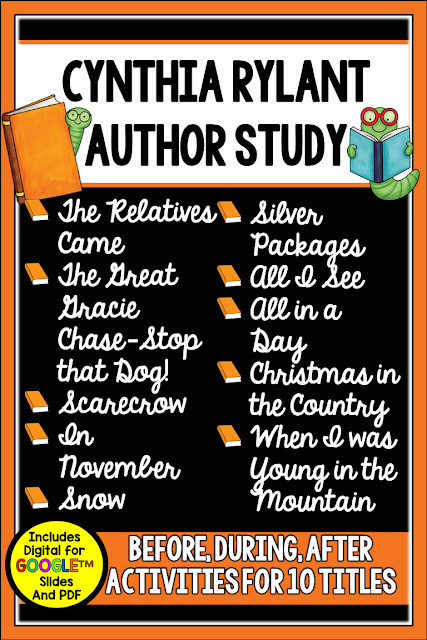This Cynthia Rylant Author Study includes book units for *10* of her books. There are 384 pages (PDF and Digital) of materials for the books listed. The units work well for guided reading, whole group skill modeling, for partner work, tutoring, and/or sub plans since they are detailed  The focus with all is on reading comprehension and writing. Check out this post for more detail.
