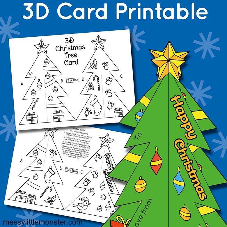 3D Christmas tree craft for kids