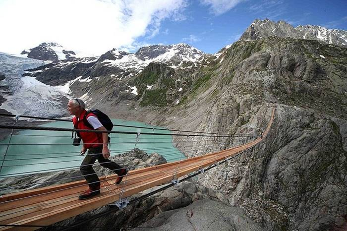 Suspension bridge on the Trift Glacier, Switzerland