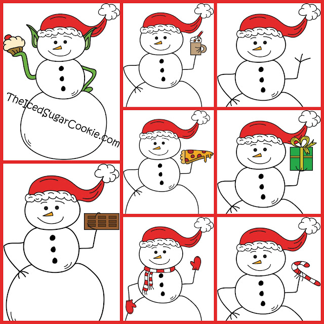 Christmas Snowman Clipart Illustrations Drawings Cartoons Images Pictures Sketch Hand Drawn