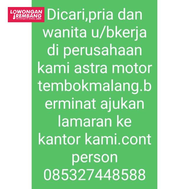 Lowongan Kerja Astra Motor Tembok Malang Rembang