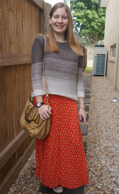 ombre stripe knit with red boho print maxi skirt for late winter birthday party park outfit | awayfromblue