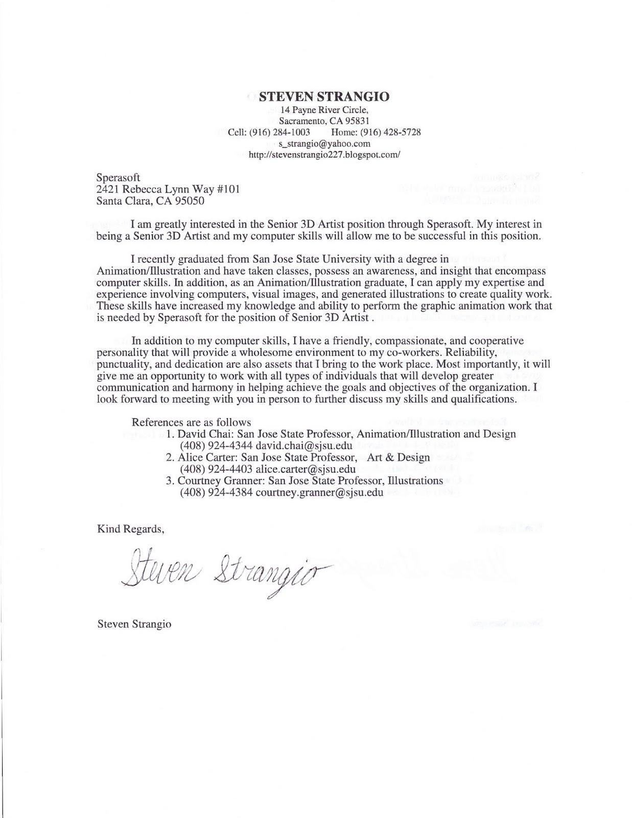 Cover Letter For 3d Modeler