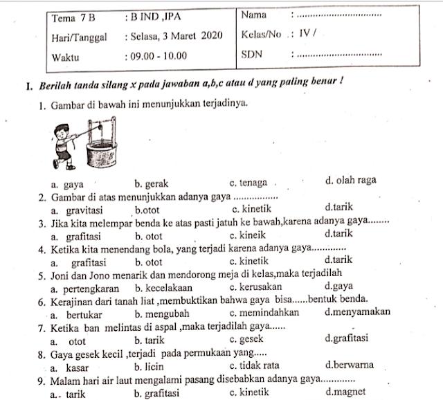 Download Soal PTS/UTS Kelas 4 Semester 2 K13 Revisi Tahun 2020 Lengkap Kunci Jawaban