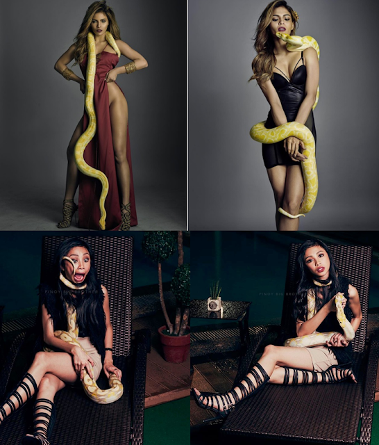 WHO DID IT BETTER: Lovi Poe Vs. Maymay Entrata In Sexy Photoshoot With A Python. LOOK HERE!