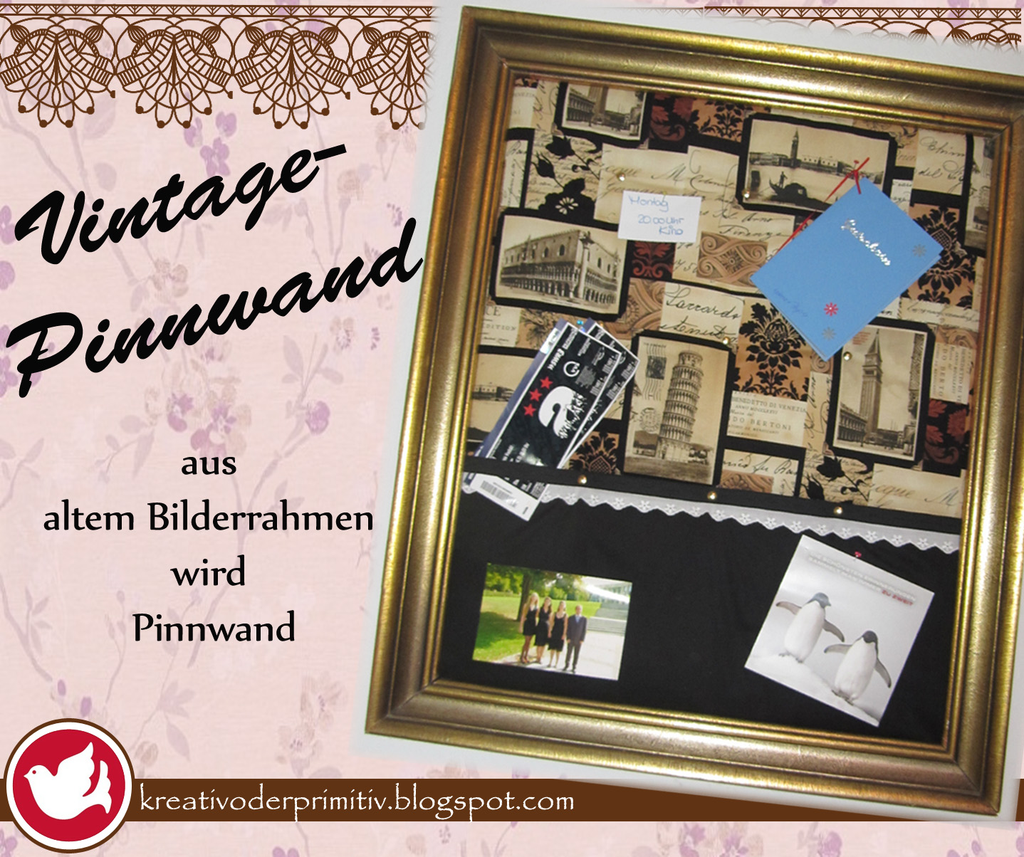 kreativ oder primitiv pinnwand aus altem bilderrahmen. Black Bedroom Furniture Sets. Home Design Ideas