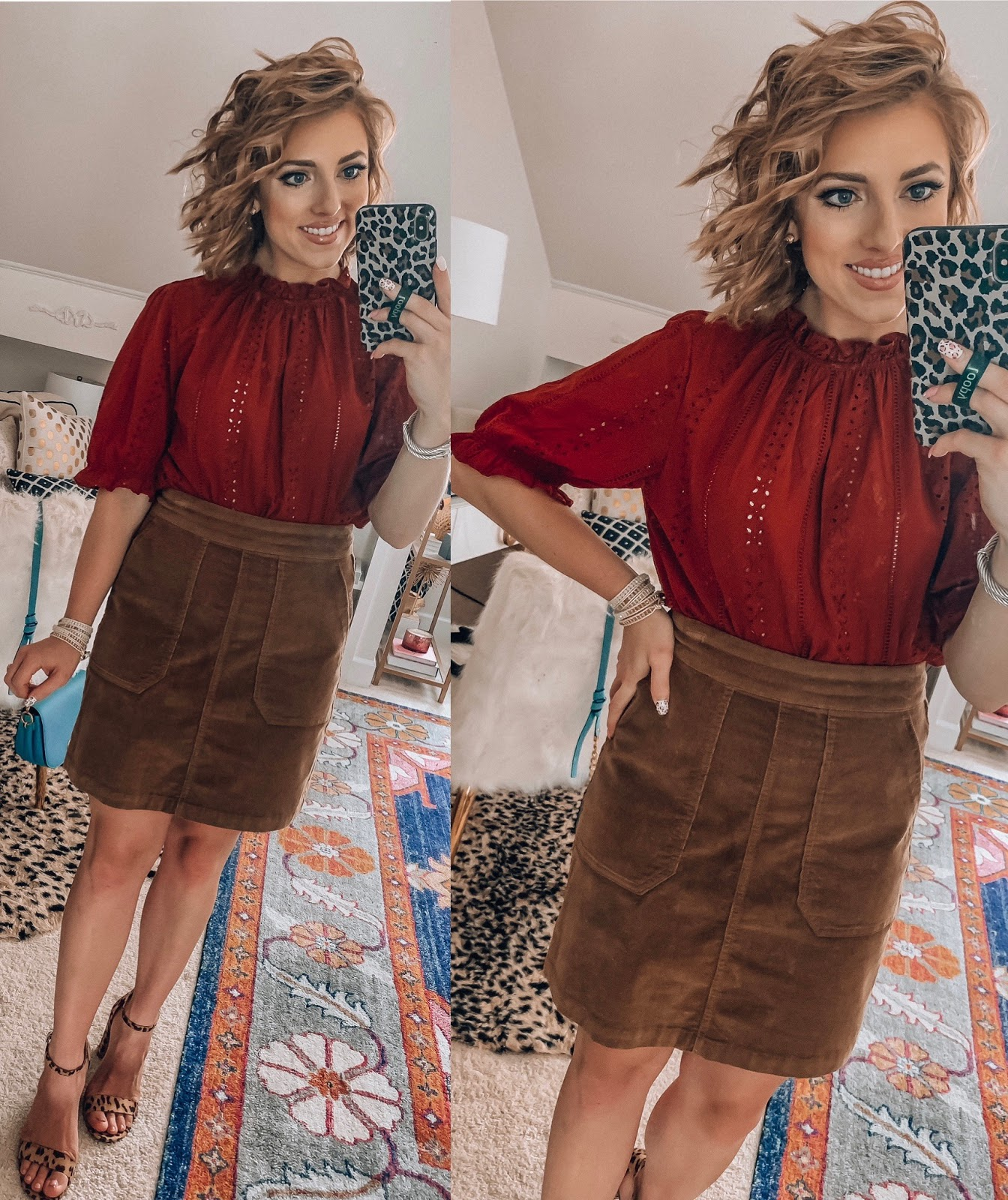 Target Fall Finds: Part 2 - Under $30 Eyelet Bishop Top with cord skirt - Something Delightful Blog #fallfashion #leopard #pajamas #targetstyle #targetfallfinds