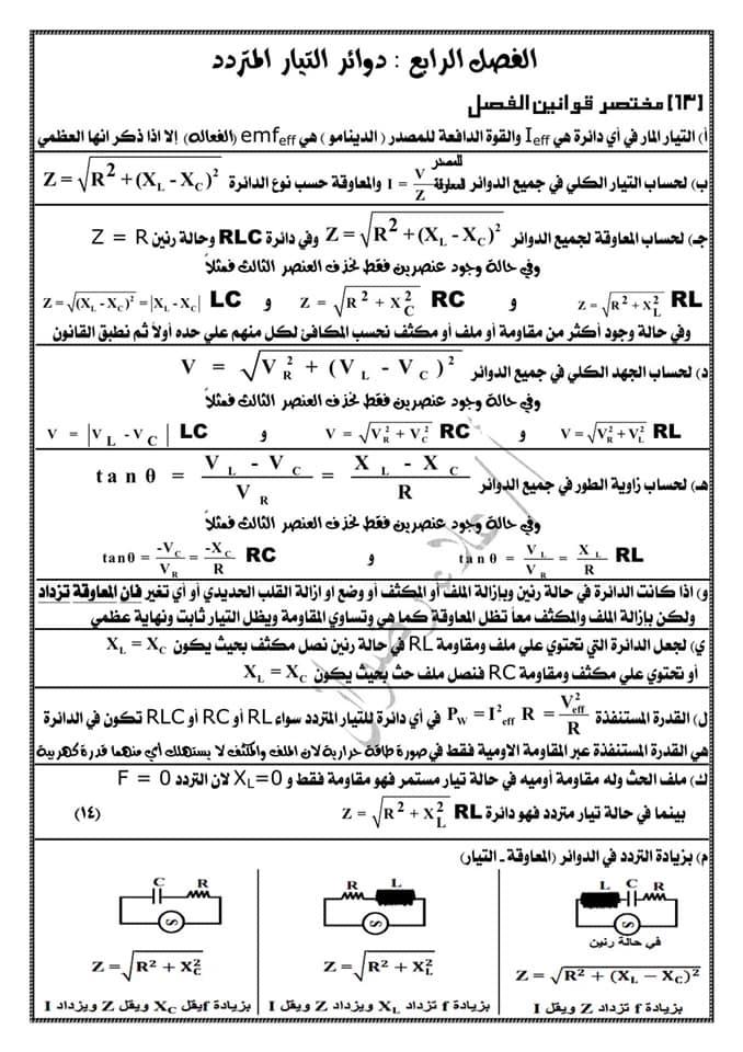 مراجعة فيزياء ثالثة ثانوي. كل القوانين بطريقة منظمة جداً كل فصل لوحده أ/ علاء رضوان 12
