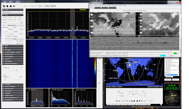 Software setup for receiving NOAA 19. Left the SDR# tuned at 137.1 MHz using the RTL Dongle, right top the WXtoImg  to decode the image, and right bottom orbitron for tracking the satellite.