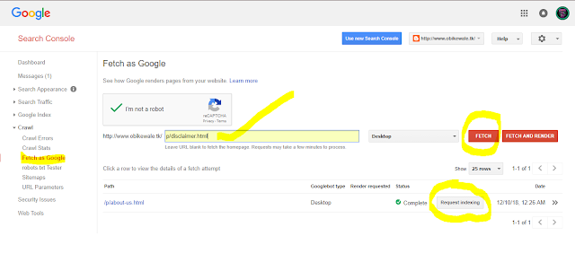 add page in google search console