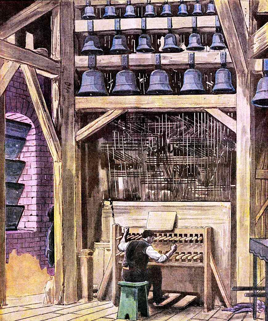 playing a 1914 carillion large color illustration