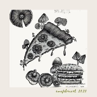 mushroom art drawing