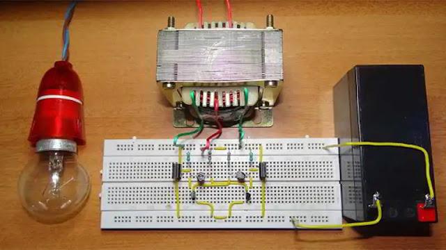merupakan salah satu rangkaian elektro yang sungguh diperlukan di daerah yang memang belu Skema Rangkaian Inverter DC to AC Sederhana