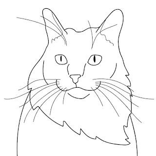 cat line art staring