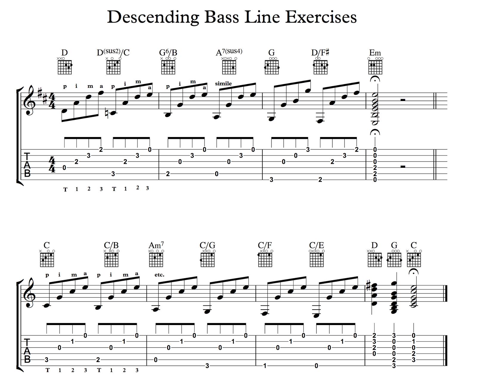 ghs guitar descending bass line patterns for cool guitar players. Black Bedroom Furniture Sets. Home Design Ideas