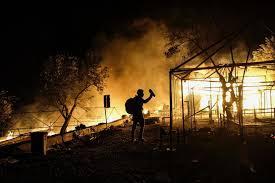 Moria migrant camp fire
