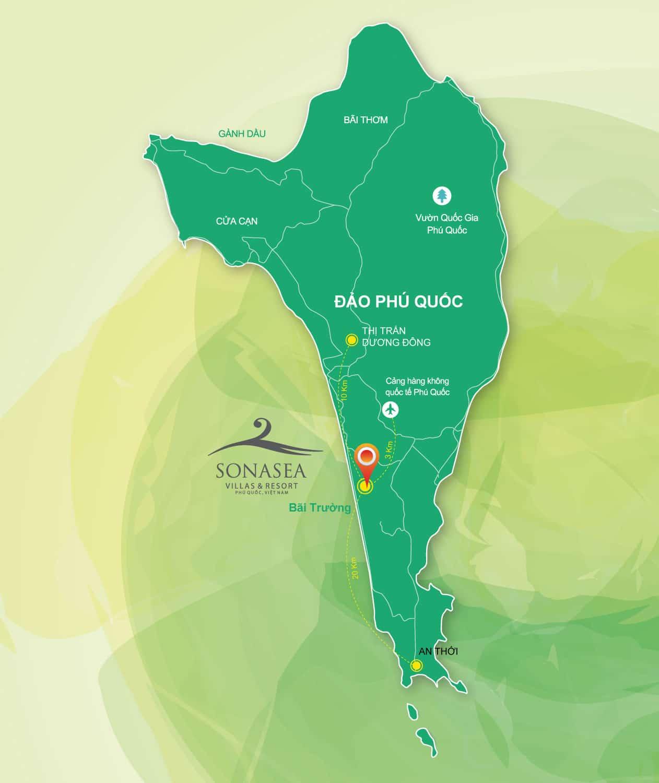 Vị trí dự án Condotel Sonasea Phú Quốc vô cùng đắc địa tại trung tâm