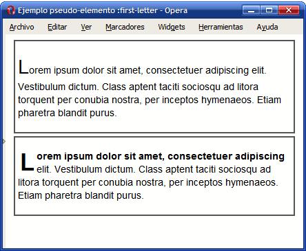 Ejemplo de pseudo-elemento first-letter