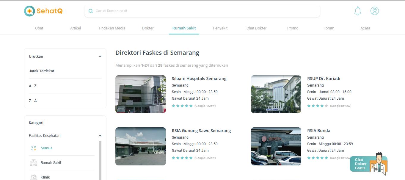 Dapatkan Informasi Tentang Rumah Sakit Di Semarang dengan SehatQ.com