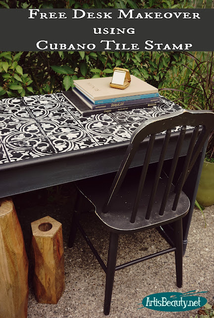 free desk makeover using cubano tile stamp black and white desk