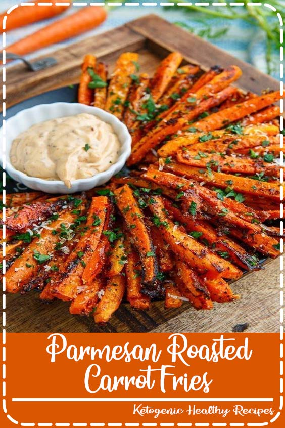 Sweet roasted carrot fries covered with crispy parmesan cheese Parmesan Roasted Carrot Fries
