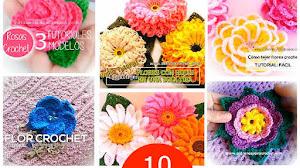 10 Tutoriales de Flores Crochet / Aprende a tejer