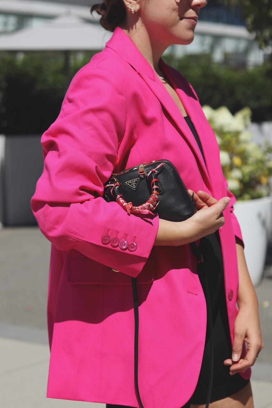 bike shorts outfit pink oversized blazer aritzia