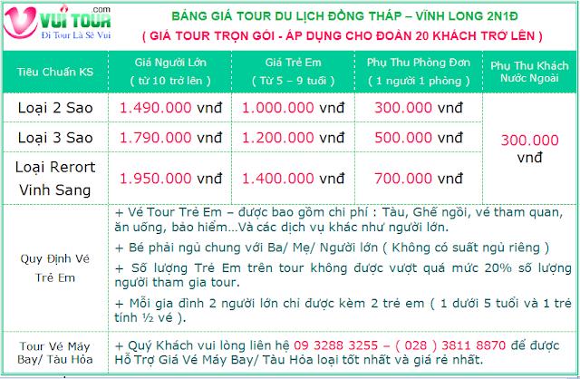 Gia Tour Vinh Long 2 Ngay 1 Dem