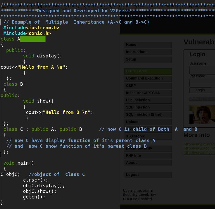 Multiple  Inheritance in c++ Example