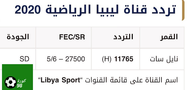 تردد قناة ليبيا الرياضية المفتوحة الناقلة