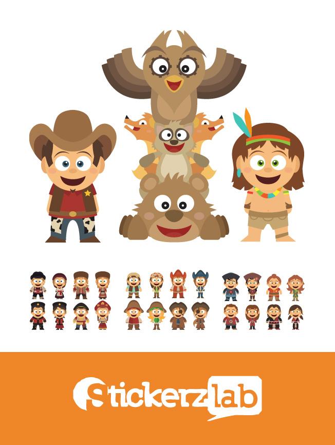 Création illustration pour enfant cowboys et indiens