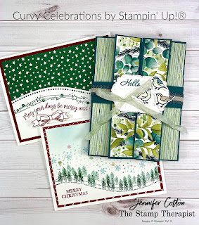 Curvy Celebrations by Stampin' Up!®  Three cards from my weekly Facebook Live.  Click to go to the blog and see samples and video!  #StampinUp #StampTherapist