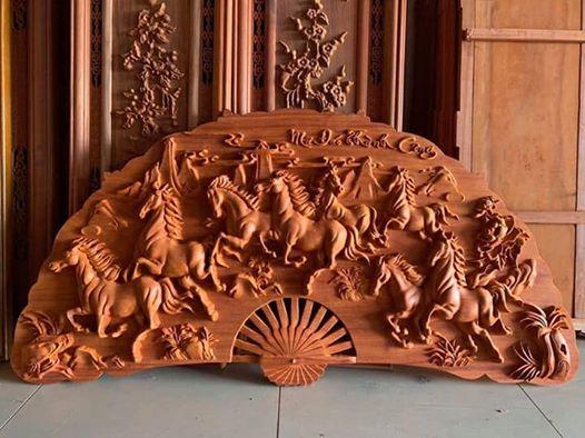 TRANH QUẠT BÁT MÃ - Đồ gỗ mỹ nghệ Đồng Kỵ Thu Liên
