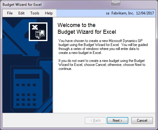 creating a budget in dynamics gp