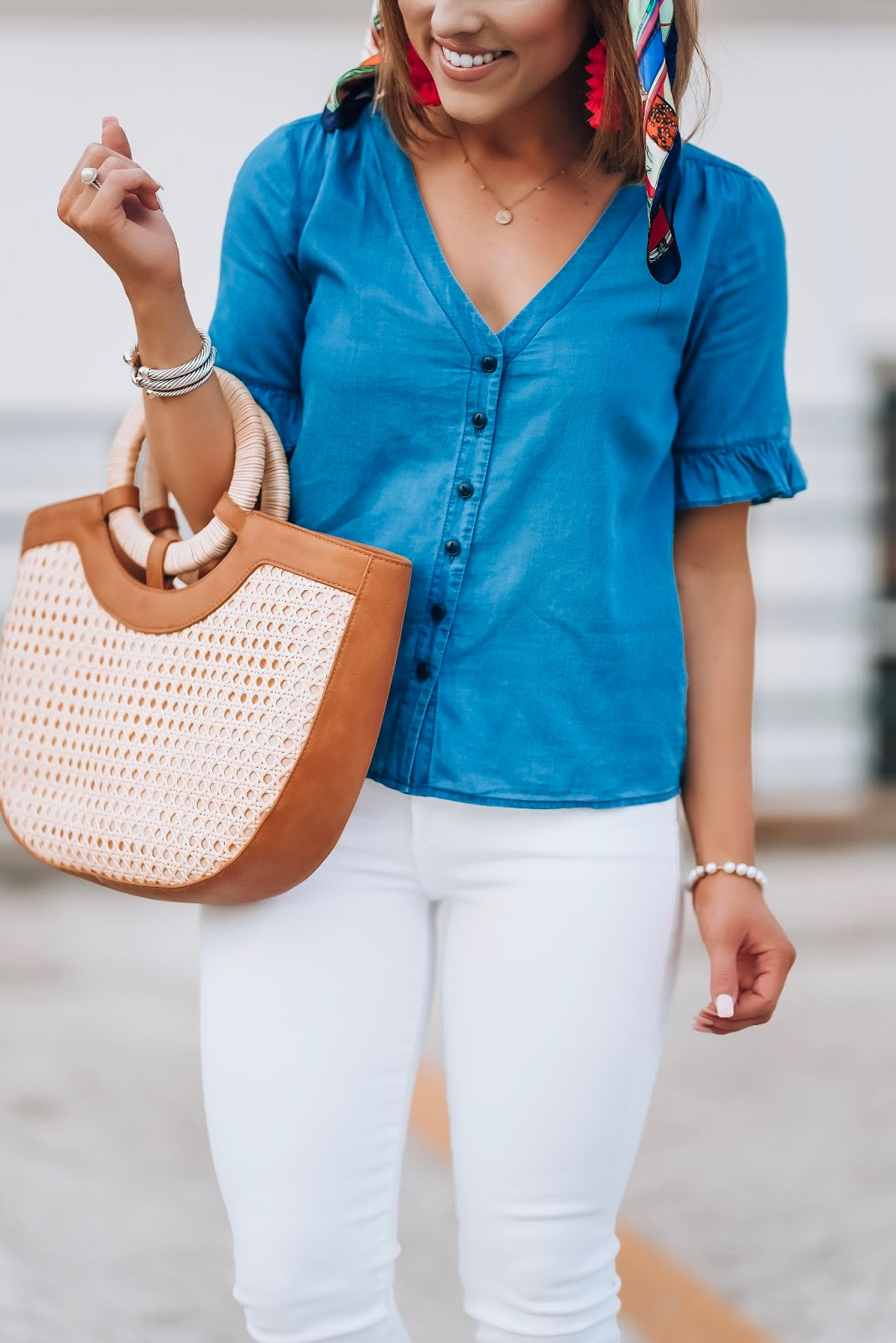 My Favorite Way to Style Chambray: Madewell Ruffle Sleeve Chambray Top, Target Straw Bag + $12 Scarf - Something Delightful Blog #springstyle #chambray #everydaystyle