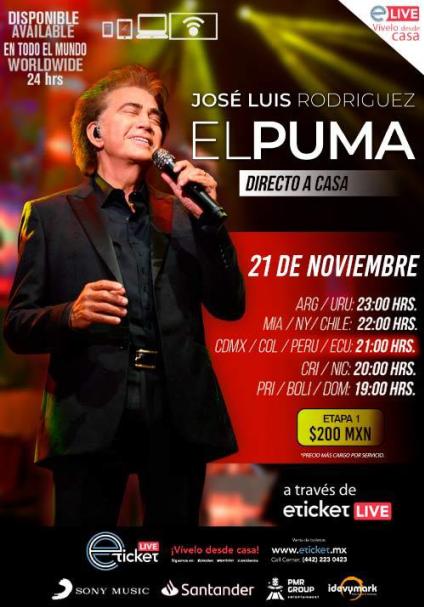 """Jose Luis Rodríguez, """"El Puma"""", ofrecerá un concierto especial en streaming"""