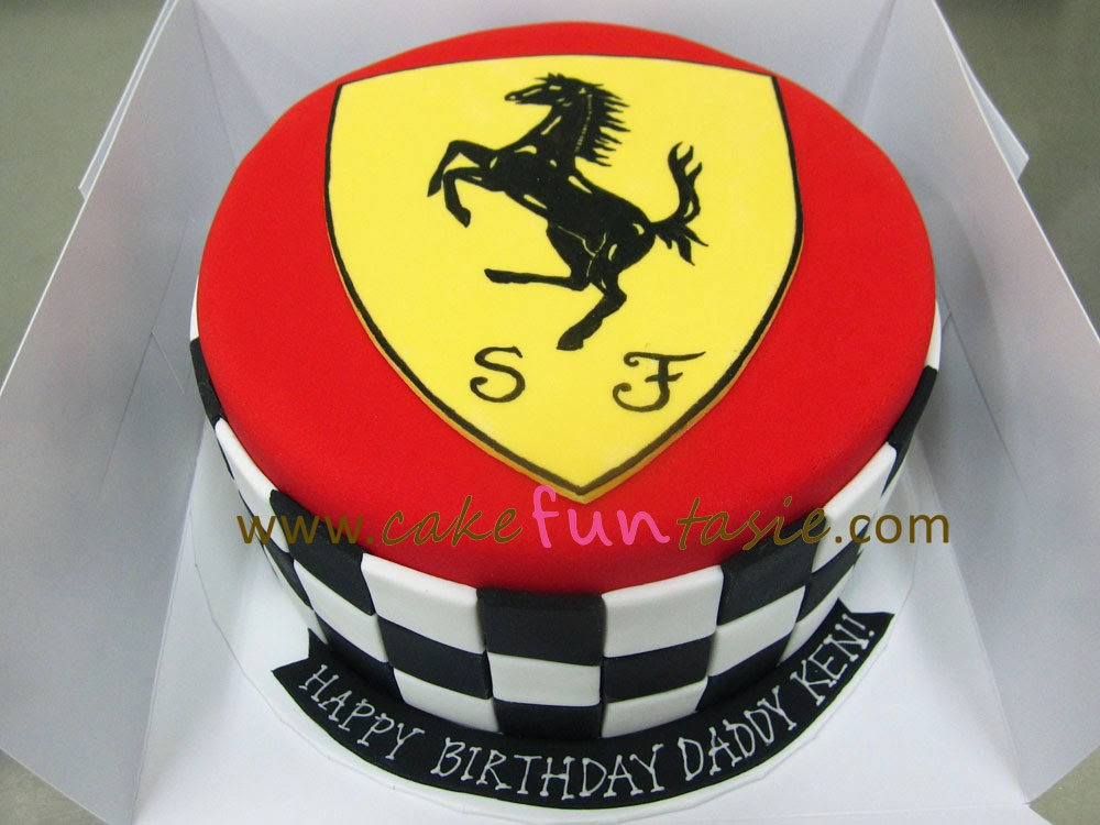 Cake Funtasie Ferrari Logo Racing Stripes Cake